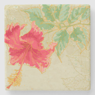 Hibiscus flower on toned background stone coaster
