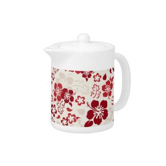 Hibiscus Flower Pattern Glass Teapot