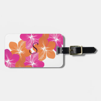 Hibiscus Flower Pink and Orange Customizable Color Luggage Tag