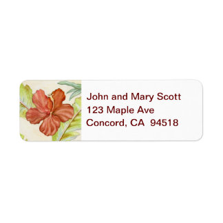 Hibiscus Flower return address label