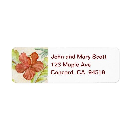 Hibiscus Flower return address label