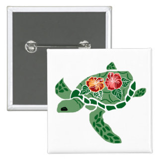 Hibiscus flower sea turtle button