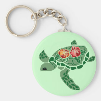 Hibiscus flower sea turtle key chain