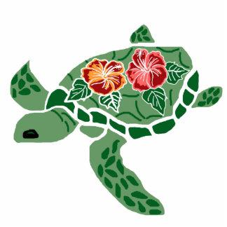 Hibiscus flower sea turtle sculptured pin photo sculpture badge