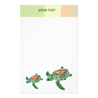 Hibiscus flower sea turtle, stationary stationery