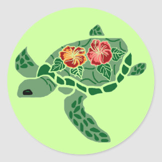 Hibiscus flower sea turtle stickers
