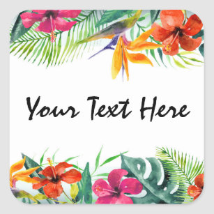 Hibiscus Flower Tropical Paradise Hawaiian Floral Square Sticker