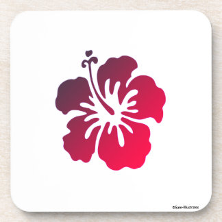 Hibiscus Flower Tropical Plastic Coaster Set