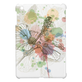 Hibiscus flower & watercolor background cover for the iPad mini