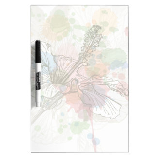 Hibiscus flower & watercolor background dry erase board