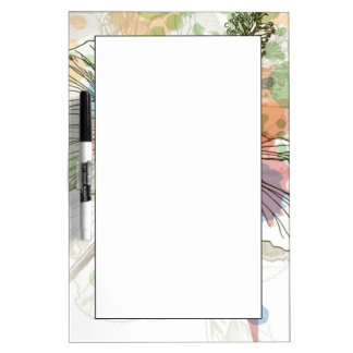 Hibiscus flower & watercolor background Dry-Erase boards