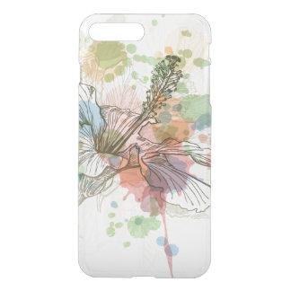 Hibiscus flower & watercolor background iPhone 8 plus/7 plus case