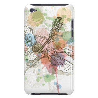 Hibiscus flower & watercolor background iPod touch covers