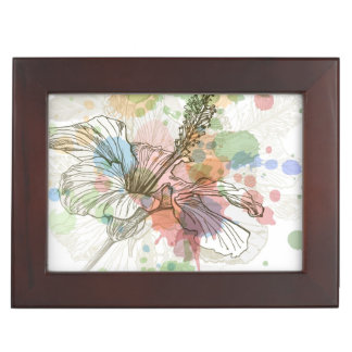 Hibiscus flower & watercolor background keepsake box