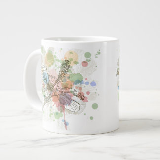 Hibiscus flower & watercolor background large coffee mug