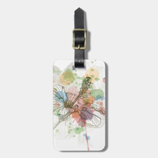 Hibiscus flower & watercolor background luggage tag