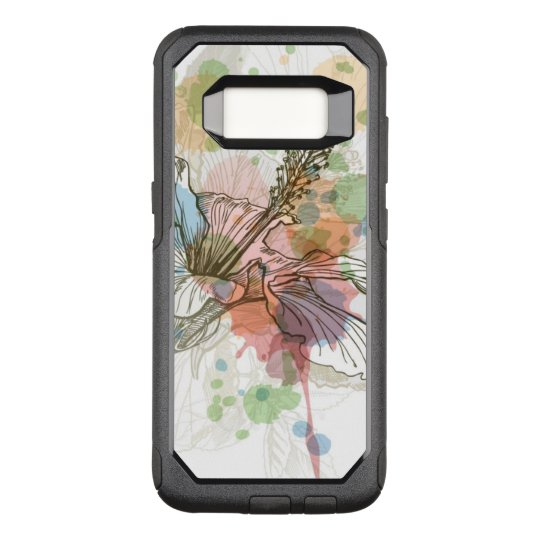 Hibiscus flower & watercolor background OtterBox commuter samsung galaxy s8 case