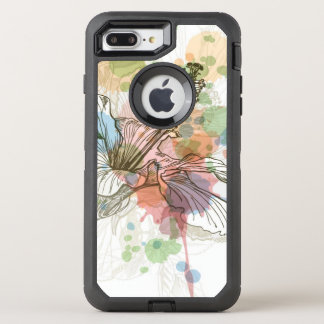 Hibiscus flower & watercolor background OtterBox defender iPhone 8 plus/7 plus case