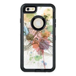 Hibiscus flower & watercolor background OtterBox defender iPhone case