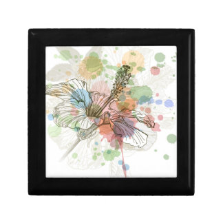 Hibiscus flower & watercolor background small square gift box
