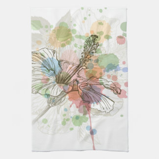 Hibiscus flower & watercolor background tea towel