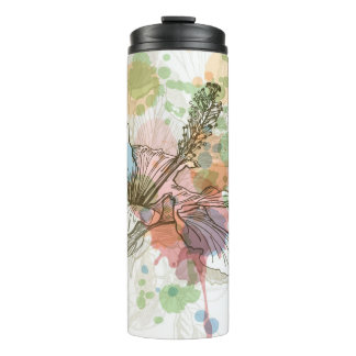 Hibiscus flower & watercolor background thermal tumbler