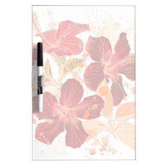 Hibiscus flower - watercolor paint 2 dry erase white board