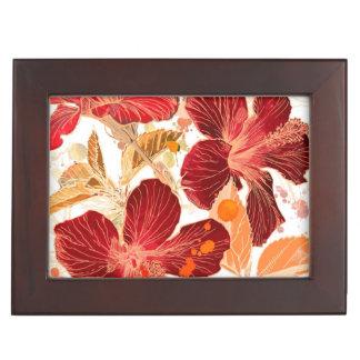 Hibiscus flower - watercolor paint 2 keepsake boxes