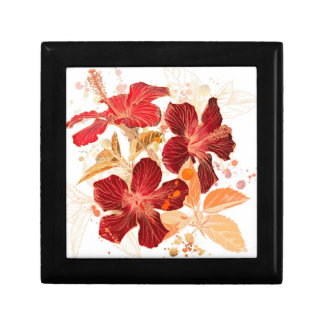 Hibiscus flower - watercolor paint 2 small square gift box
