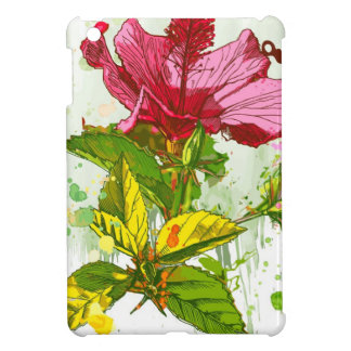 Hibiscus flower - watercolor paint case for the iPad mini