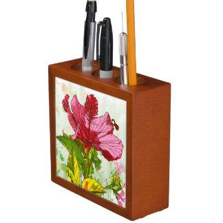 Hibiscus flower - watercolor paint desk organiser
