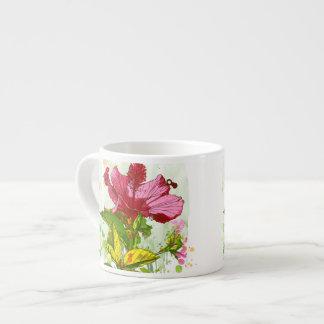 Hibiscus flower - watercolor paint espresso cup