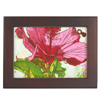 Hibiscus flower - watercolor paint keepsake box