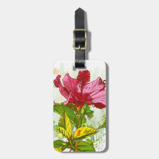 Hibiscus flower - watercolor paint luggage tag