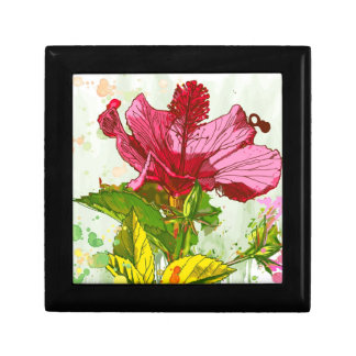 Hibiscus flower - watercolor paint small square gift box