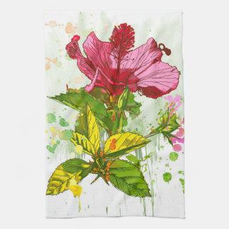 Hibiscus flower - watercolor paint tea towel