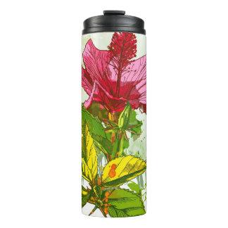 Hibiscus flower - watercolor paint thermal tumbler