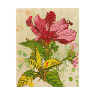 Hibiscus flower - watercolor paint wood wall decor
