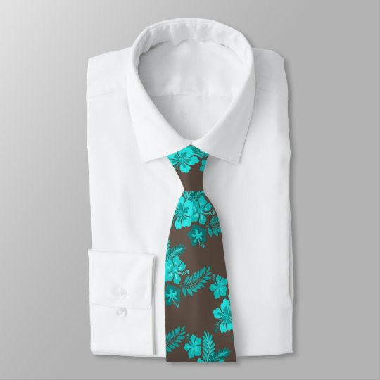 Hibiscus Flowers Aqua Brown Necktie