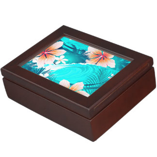 Hibiscus flowers at the beach keepsake box