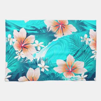 Hibiscus flowers at the beach tea towel