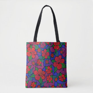 Hibiscus Flowers Blue Tote Bag