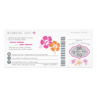 Hibiscus Flowers Boarding Pass Wedding Invitation