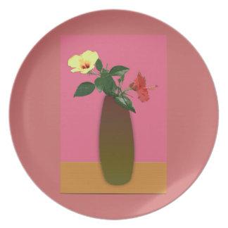 Hibiscus Flowers in a Vase Digital Art Plate