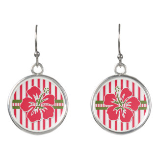 Hibiscus Flowers in Hot Pink with Bold Stripes Earrings