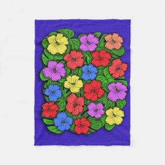 Hibiscus Flowers & Monstera Leaves Fleece Blanket