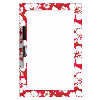 Hibiscus Flowers Pattern Dry Erase Board