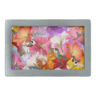 Hibiscus Flowers Rect Belt Buckle