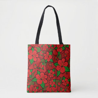 Hibiscus Flowers Red Tote Bag
