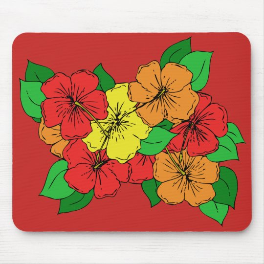 Hibiscus Flowers ROY Mouse Mat